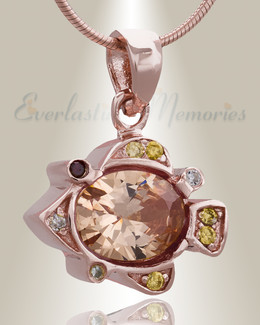 Rose Gold Pufferfish Cremation Jewelry