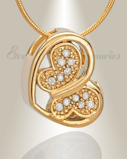 Gold Plated Spring Heart Cremation Jewelry