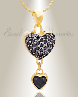 Gold Plated Falling Heart Cremation Jewelry