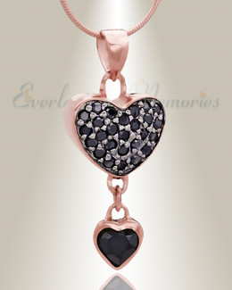 Rose Gold Falling Heart Cremation Jewelry