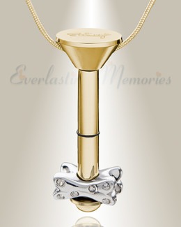 Gold Plated Millenium Ash Pendant with Fanciful Bone Charm