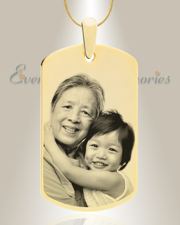 Large Dog Tag Photo Engraved Gold Plated over Stainless Keepsake