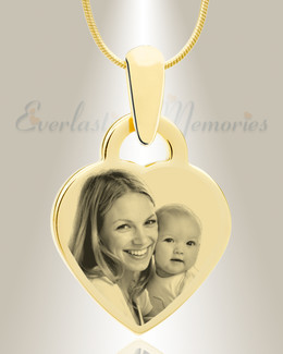 Small Heart Photo Engraved Gold Plated over Stainless Keepsake