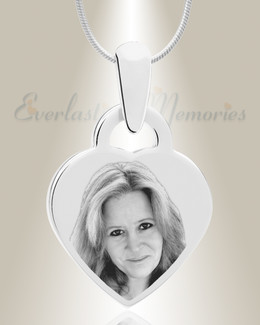 Small Heart Picture Engraved Stainless Keepsake