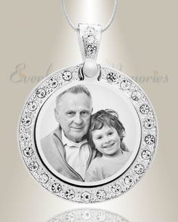 Gem Circle Photo Engraved Stainless Keepsake