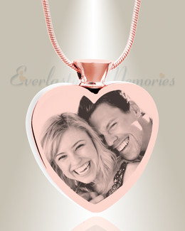 Heart Rose Gold Plated Picture Engraved Ash Pendant