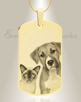 Large Dog Tag Photo Engraved Gold Plated over Stainless Pet Keepsake