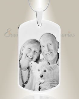 Large Dog Tag Photo Engraved Stainless Pet Keepsake