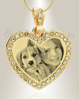 Gem Heart Photo Engraved Gold Plated over Stainless Pet Keepsake