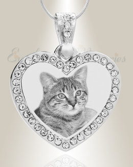 Gem Heart Photo Engraved Stainless Pet Keepsake
