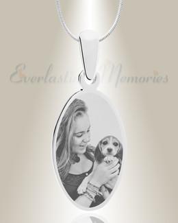Oval Photo Engraved Stainless Pet Keepsake