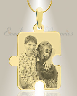 Large Puzzle Piece Photo Engraved Gold Plated Pet Keepsake