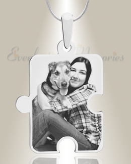 Large Puzzle Piece Photo Engraved Silver Pet Keepsake