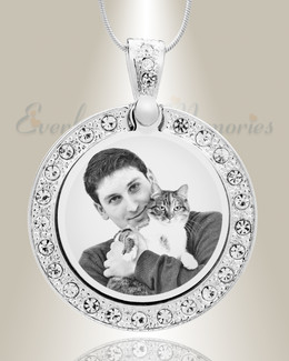 Gem Circle Photo Engraved Stainless Pet Keepsake