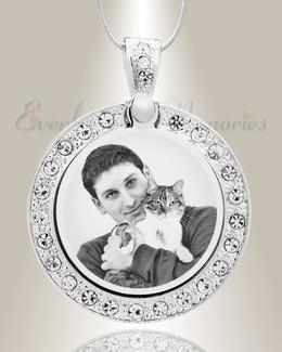 Gem Circle Photo Engraved Stainless Pet Keepsake