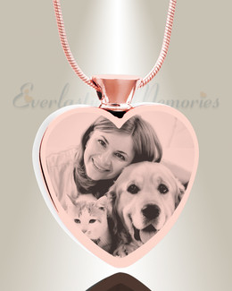 Heart Rose Gold Plated Picture Engraved Ash Pet Pendant