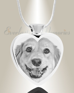 Heart Stainless Steel Photo Engraved Ash Pet Pendant