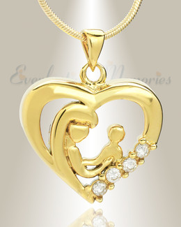 Gold Plated Nurturing Heart Memorial Jewelry