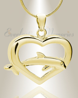 Gold Plated Dive Into My Heart Memorial Jewelry