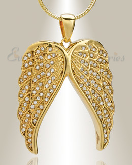 Gold Plated Spiritual Wings Memorial Jewelry