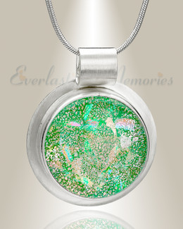 Shimmer Green Round Memorial Jewelry