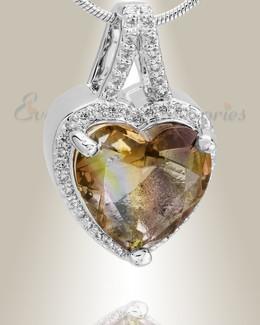 Sterling Silver Dazzle Heart Memorial Jewelry