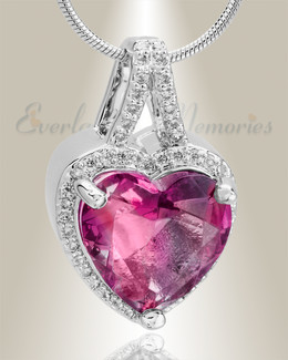 Sterling Silver Rose Dazzle Heart Memorial Jewelry