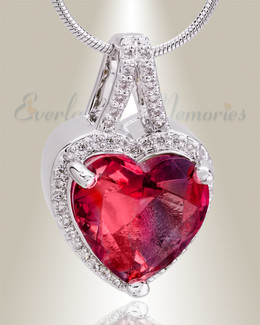 Sterling Silver Crimson Dazzle Heart Memorial Jewelry