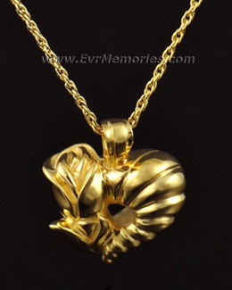 14k Gold Flower Heart Cremation Charm