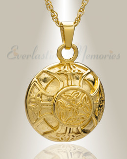 Gold Plated Celtic Round Cremation Locket