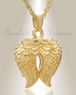 Gold Plated Feathered Heart Cremation Charm