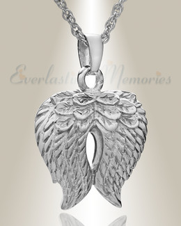 14k White Gold Feathered Heart Cremation Charm