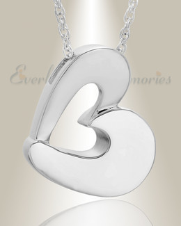 14k White Gold Fashion Heart Cremation Jewelry