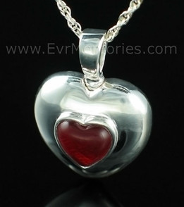 Sterling Silver January Heart Jewelry Urn