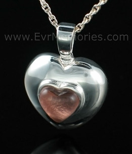 Sterling Silver February Heart Funeral Jewelry