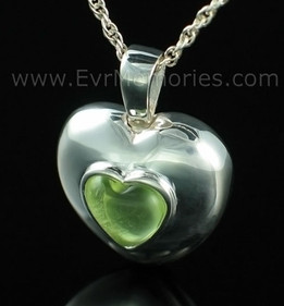Sterling Silver March Heart Cremation Keepsake