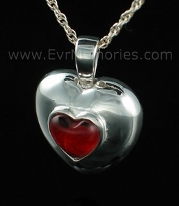Sterling Silver July Heart Cremation Urn Keepsake