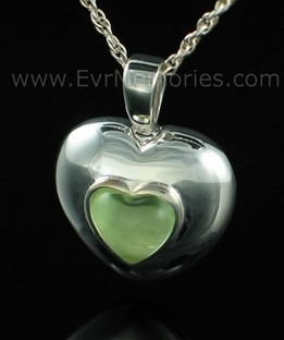 Sterling Silver August Heart Urn Keepsake