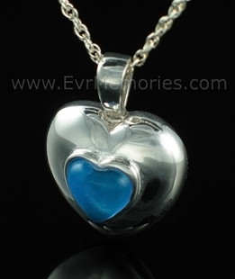 Sterling Silver September Heart Cremation Urn Keepsake