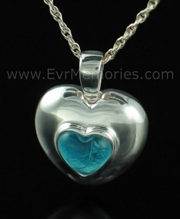 Sterling Silver December Heart Cremation Keepsake