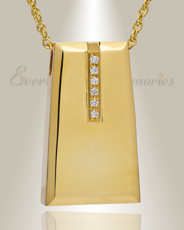 14K Gold Plated Eternity Sliding Rectangle Urn Necklace