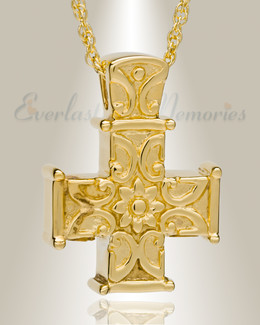 14K Gold Plated Companion Memory Cross Cremation Urn Keepsake