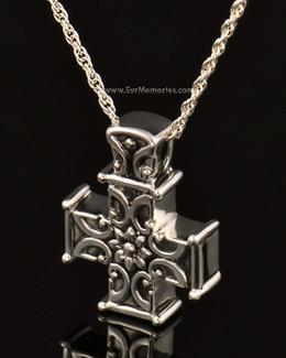 14K White Gold Companion Memory Cross Keepsake Pendant