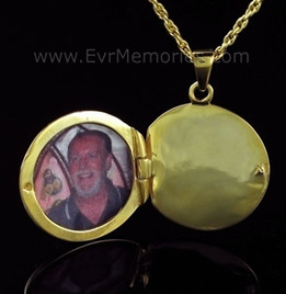 14K Gold Plated Sophisticate Round Memorial Locket