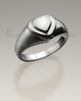 Forever Love Sterling Silver Heart Ring Cremation Urn Keepsake