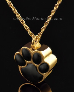 14K Gold Plated Onyx Paw Funeral Jewelry
