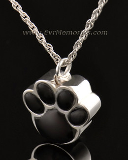 14K White Gold Onyx Paw Pet Cremation Jewelry