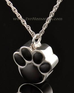 14K White Gold Onyx Paw Pet Cremation Jewelry
