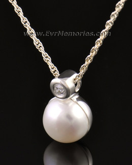 14K White Gold Pearl Cremation Keepsake