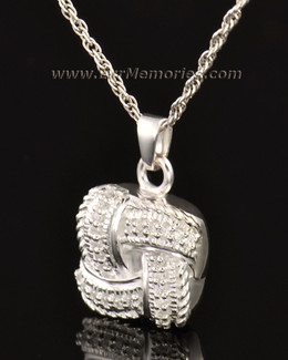 14K White Gold Interlace Locket Remembrance Jewelry